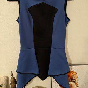 Bisou Bisou Blue and Black Peplum Top (XS)